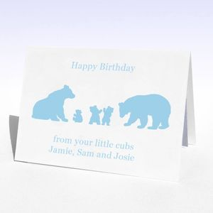 Personalised Birthday Bear Family Birthday Card - birthday cards