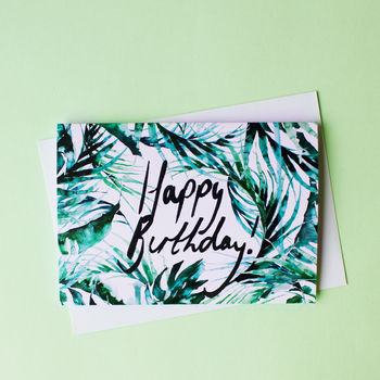 Tropical Paradise Palms Happy Birthday Greeting Card
