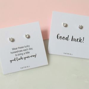 Good Luck Silver Horseshoe Earring Gift Box - children's jewellery