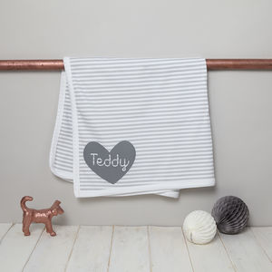 Personalised Baby Blanket Striped Design