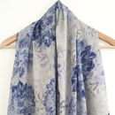 Pale Blue Print Voile Scarf With Gift Box And Card
