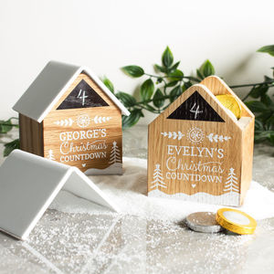 Personalised Wooden Advent Christmas Countdown House - advent calendars