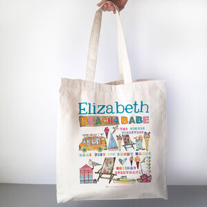 Personalised Beach Babe Beach Bag