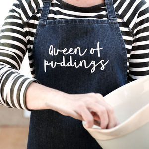 Queen Of Puddings Denim Apron - kitchen