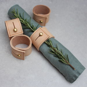 Set Of Six Napkin Rings In Natural