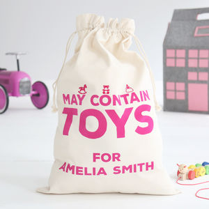 Personalised 'May Contain Toys' Sack Girls - bedroom