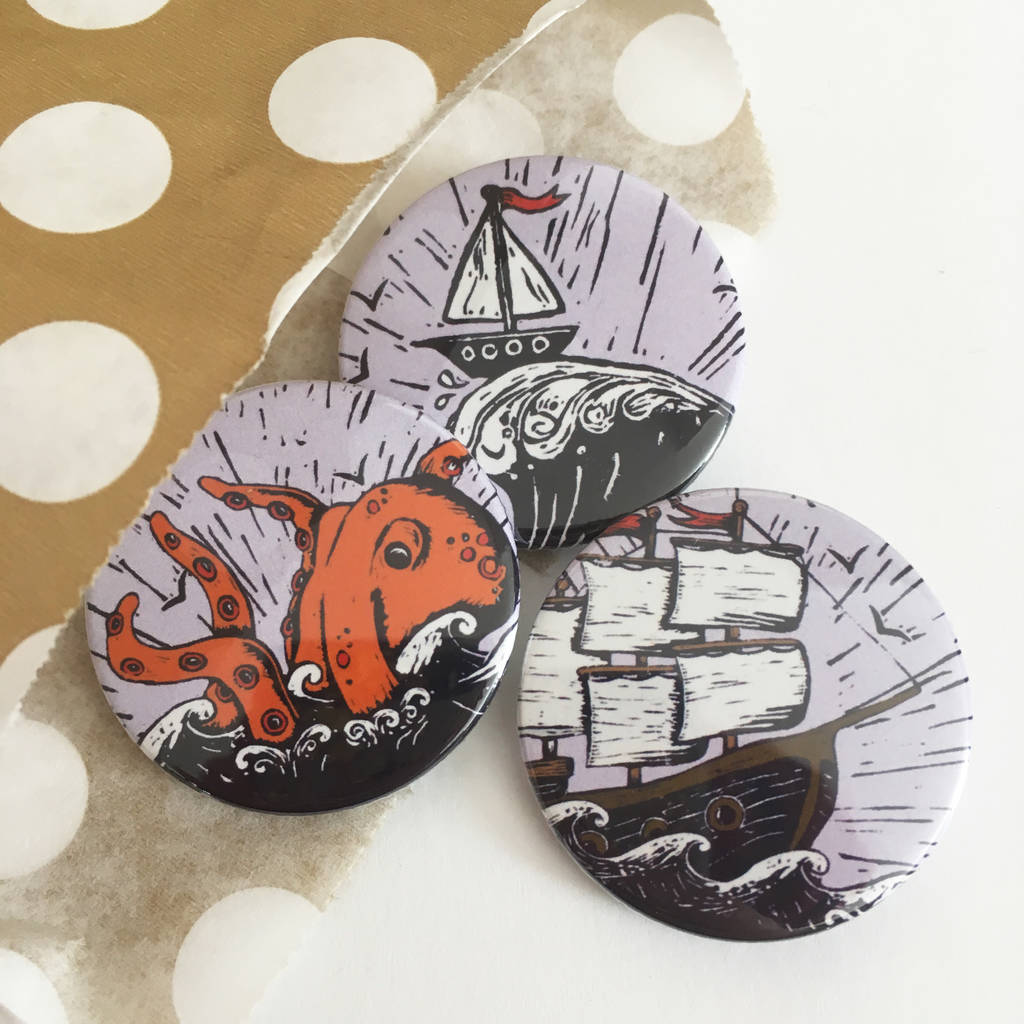 Pirate Ship And Sea Monster Badge Set