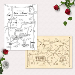 Mono Colour Illustrated Map Invitation Postcard - save the date cards