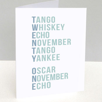 Phonetic Alphabet 21st Birthday Card