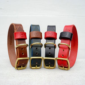 Personalised Monogram Bridle Leather Dog Collar - pet collars