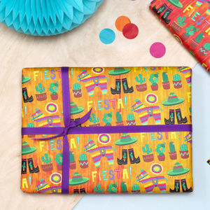 Cowboy Fiesta Kids Gift Wrapping Set - wrapping paper