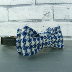 Blue Houndstooth Harris Tweed Dog Bow Tie