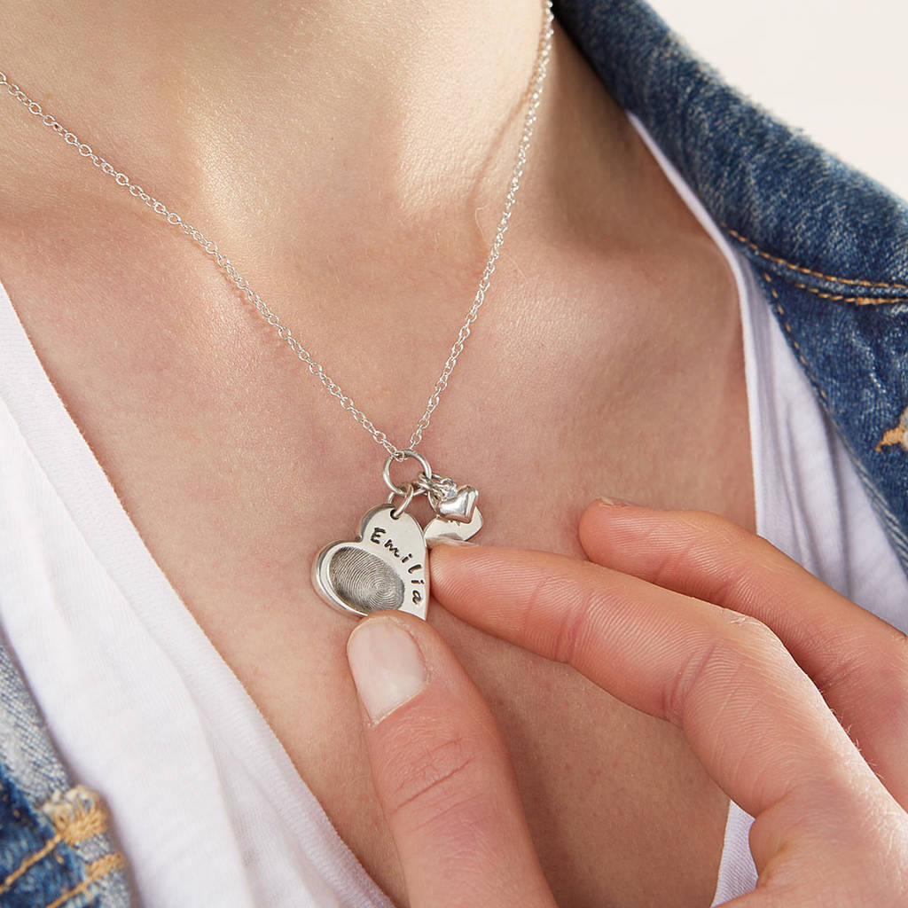 928af14a50 personalised silver fingerprint charm necklace by button and bean ...