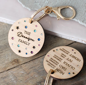 Family Birthstone Keyring - personalised gifts