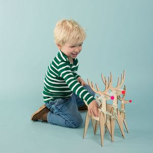 Set Of Three Wooden Reindeer Decorations