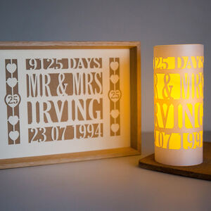 25th Anniversary Silver Wedding Papercut Luminary