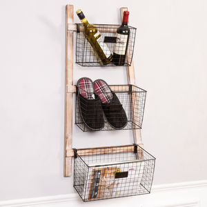 Industrial Wire Home Storage Baskets Ladder - shelves