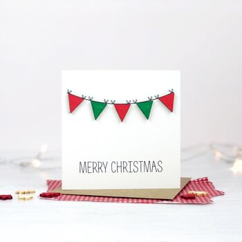 Red And Green Christmas Bunting Card