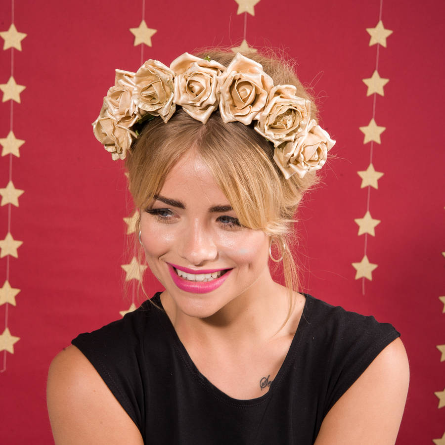 Gold flower crown by stephanieverafter notonthehighstreet gold flower crown izmirmasajfo
