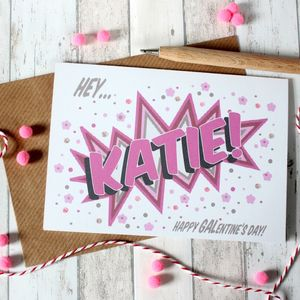 Personalised Galentine's Day Card, Comic Book Valentine