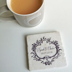 Personalised Marble Engagement Coaster