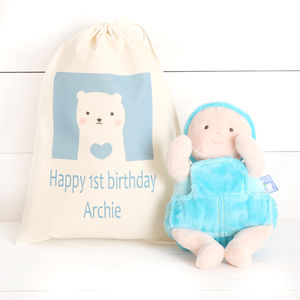 Baby Boy Or Girl Plush Doll And Personalised Cotton Bag