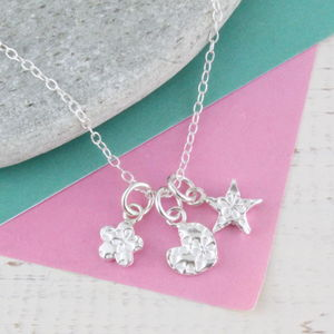 Personalised Three Charm Sterling Silver Necklace - children's jewellery