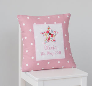 Personalised New Baby Girl Star Cushion - nursery cushions