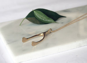 Gold Wishbone Necklace - necklaces & pendants