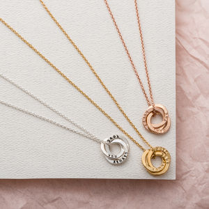 Personalised Mini Satin Hammered Trio Ring Necklace - necklaces & pendants