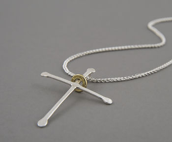 Ripple Cross Silver Necklace