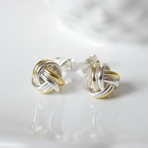 Friendship Knot Earrings In Silver And Gold - earrings