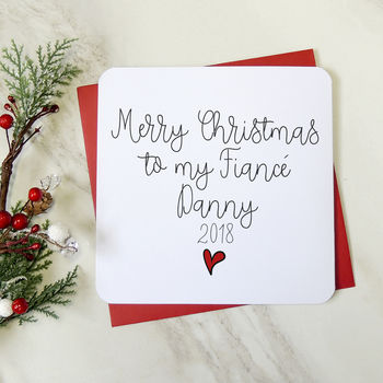 'Merry Christmas To My Fiancé' Personalised Script Card