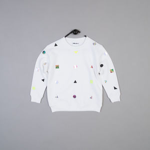 Polkashape Sweatshirt In White - babies' jumpers