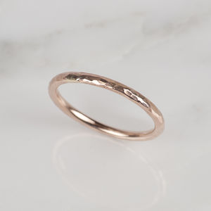 9ct Rose Gold Hammered Ring - wedding jewellery
