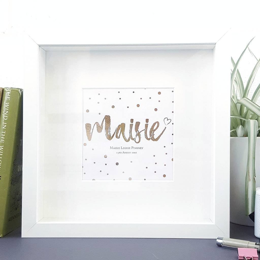Rose Gold Baby Name Print Framed Nursery Art