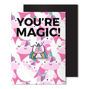 Thanks You're Magic Magnetic Unicorn Enamel Pin Card