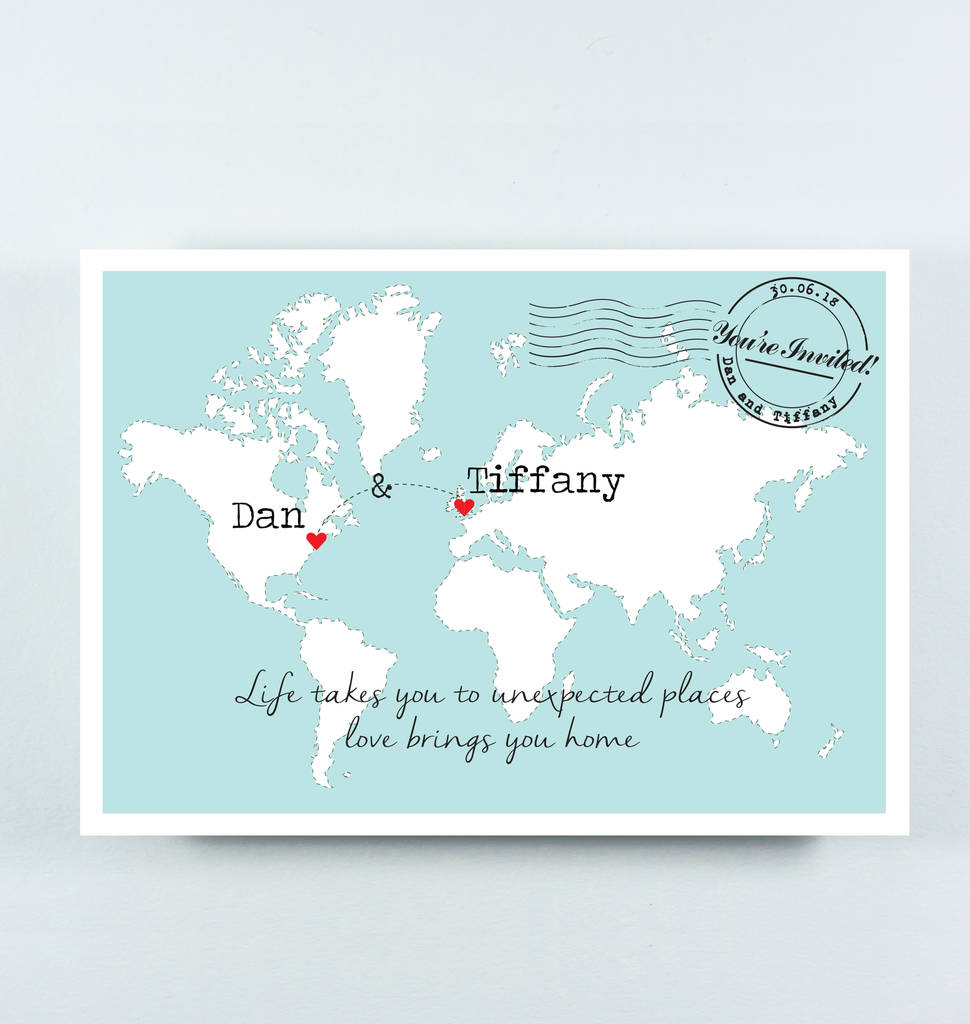 Maps For Wedding Invitations: 'tiffany' Wedding Map Postcard Invitation With Quote By