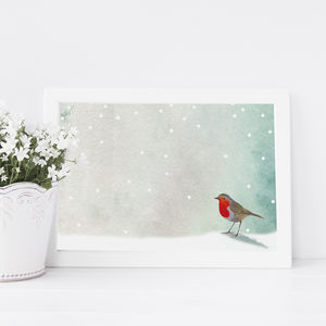 Robin In Snowfall Print - christmas home accessories