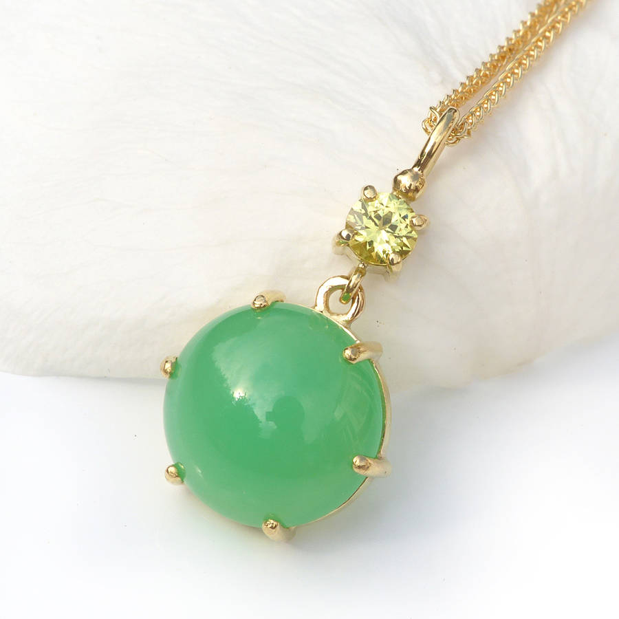 necklace lyst stones jewelry yellow gold neuwirth gallery chrysoprase irene with product