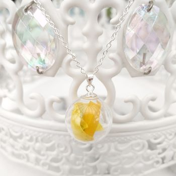 Yellow Daffodil Flower Petal And Silver Necklace