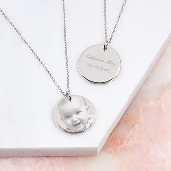 Personalised Etched Photo Disc Necklace