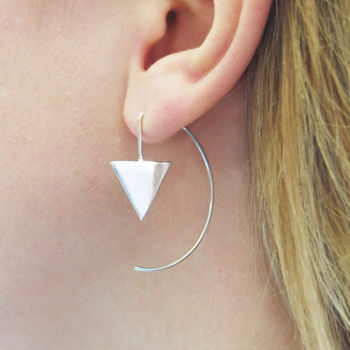 Triangle Geometric Sterling Silver Hoop Earrings