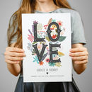 'Love' Personalised Engagement Or Wedding Print