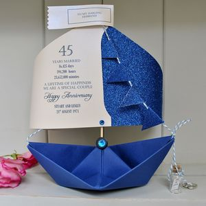 45th Sapphire Wedding Anniversary Paper Boat Card - anniversary cards