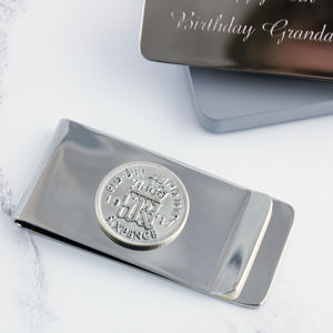 Sixpence 1937 80th Birthday Coin Money Clip - accessories sale