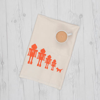 Personalised Tea Towel With Robot Family