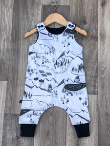 Monochrome Map Romper - clothing