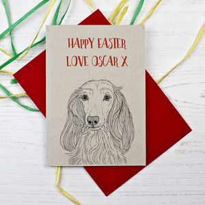 Long Haired Dachshund Easter Card