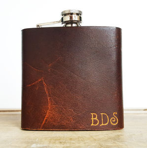 Personalised Initialled Leather Hip Flask - for your other half